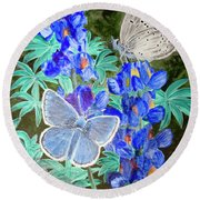 Endangered Mission Blue Butterfly Round Beach Towel