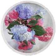 Endless Summer Hydrangeas And Roses Still Life Round Beach Towel by Louise Kumpf