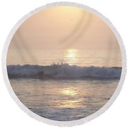 Round Beach Towel featuring the photograph Hampton Beach Wave Ends With A Splash by Eunice Miller