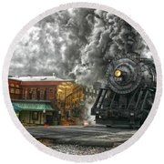 Engine 734 On The Western Maryland Scenic Railroad  Round Beach Towel by Jeannette Hunt