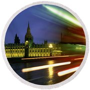 England, London, Houses Of Parliament Round Beach Towel