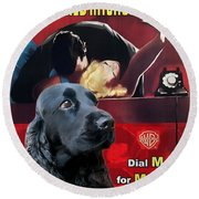 English Cocker Spaniel Art - Dial M For Murder Round Beach Towel