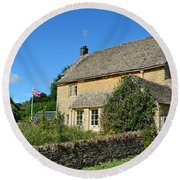 English Cottage With Garden Round Beach Towel by IPics Photography