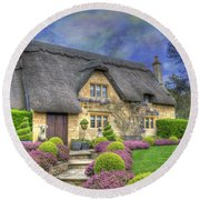 English Country Cottage Round Beach Towel