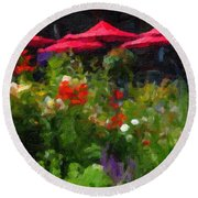English Country Garden Round Beach Towel