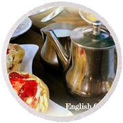 English Cream Tea Round Beach Towel