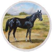 English Horse - Black Huzar Round Beach Towel
