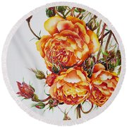 English Roses Round Beach Towel