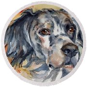 English Setter Portrait Round Beach Towel by Maria's Watercolor