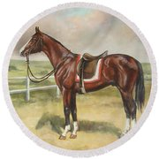 English Stallion Dark Bay Round Beach Towel