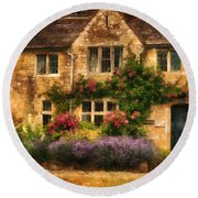 English Stone Cottage Round Beach Towel