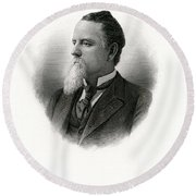 Engraved Portrait Of Rep Marriott H Brosius Round Beach Towel