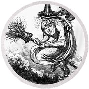 Engraving Of Ugly Old Witch Riding Round Beach Towel