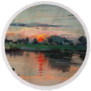 Enjoying The Sunset By Elmer's Pond Round Beach Towel