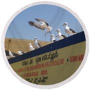 Ensenada Harbour And Fishmarket 40 Round Beach Towel
