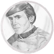 Round Beach Towel featuring the drawing Ensign Pavel Chekov by Thomas J Herring