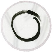 Enso #1 - Zen Circle Minimalistic Black And White Round Beach Towel