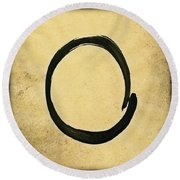 Enso #4 - Zen Circle Abstract Sand And Black Round Beach Towel