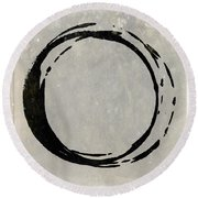 Enso No. 107 Black On Taupe Round Beach Towel