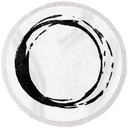 Enso No. 107 Black On White Round Beach Towel