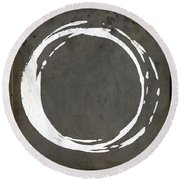 Enso No. 107 Gray Brown Round Beach Towel