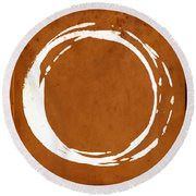 Enso No. 107 Orange Round Beach Towel