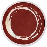Enso No. 107 Red Round Beach Towel