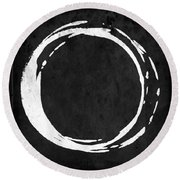 Enso No. 107 White On Black Round Beach Towel