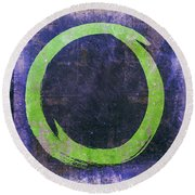 Enso No. 108 Green On Purple Round Beach Towel