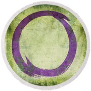 Enso No. 108 Purple On Green Round Beach Towel