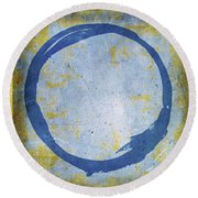 Enso No. 109 Blue On Blue Round Beach Towel