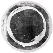 Enso No. 109 White On Black Round Beach Towel