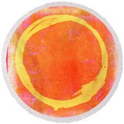 Enso No. 109 Yellow On Pink And Orange Round Beach Towel