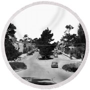Entering Carmel By The Sea Calif. Circa 1945 Round Beach Towel by California Views Mr Pat Hathaway Archives