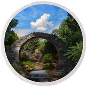 Entering The Garden Gate Round Beach Towel