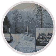 Round Beach Towel featuring the painting Entering The Town Of Twin Peaks 5 Miles South Of The Canadian Border by Luis Ludzska