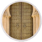 Round Beach Towel featuring the photograph Entrance Door To The Mausoleum Mohammed V Rabat Morocco by Ralph A  Ledergerber-Photography
