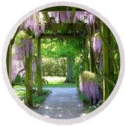 Entranceway To Fantasyland Round Beach Towel