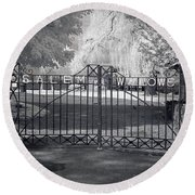 Entry To Salem Willows Round Beach Towel