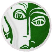 Round Beach Towel featuring the painting Envy by Donna Tucker
