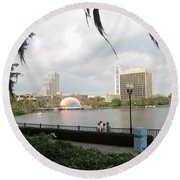 Eola Park In Orlando Round Beach Towel
