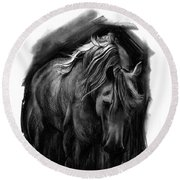 Round Beach Towel featuring the drawing Equine 1 by Paul Davenport