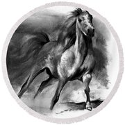 Round Beach Towel featuring the drawing Equine II by Paul Davenport