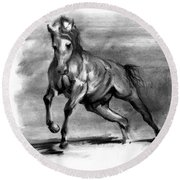 Round Beach Towel featuring the drawing Equine IIi by Paul Davenport