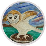Equinox Owl Round Beach Towel