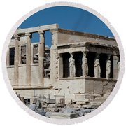 Erechtheion With The Porch Of Maidens Round Beach Towel