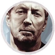 Eric Clapton Artwork Round Beach Towel by Sheraz A