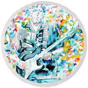 Eric Clapton - Watercolor Portrait Round Beach Towel by Fabrizio Cassetta