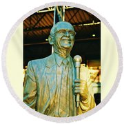 Ernie Harwell Statue At The Copa Round Beach Towel by Daniel Thompson