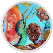 Round Beach Towel featuring the painting Ernsthaftes Spiel Im Innerem Erdteil by Otto Rapp